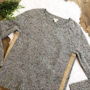 J Crew Marled Sweater Metallic Gold Stripe XS